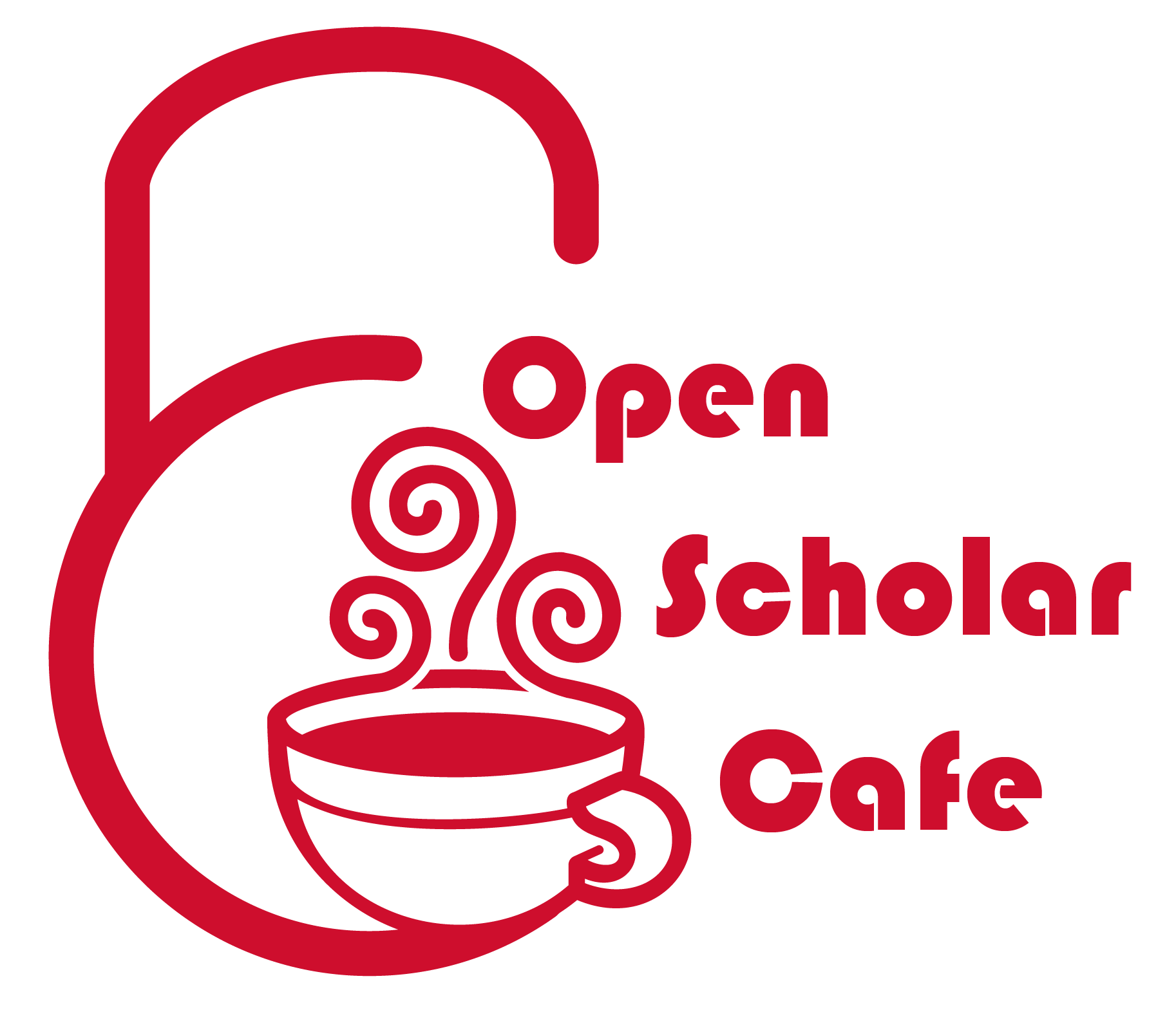 Open Scholar Cafe logo with steaming mug and open padlock